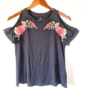 American Eagle Soft & Sexy Embroidered Floral Top